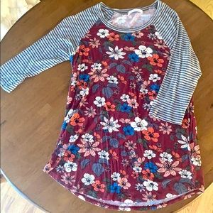 Floral and Stripe 3/4 Sleeve Top
